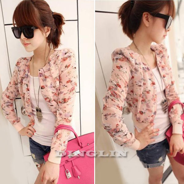 New Stylish Women's Lady Long Sleeve Floral Small Short Coat