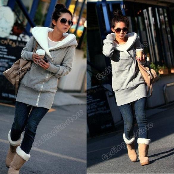 Lady Long Sleeve Hoodie Jacket Coat Warm Outerwear Hooded #120