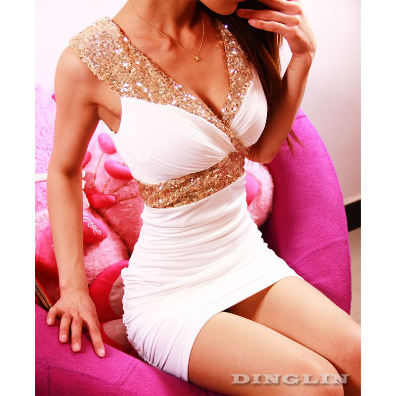 Women-Lady-Sexy-Backless-V-Neck-Sequin-Waisted-Wrinkle-Clubwear-Party-Mini-Dress