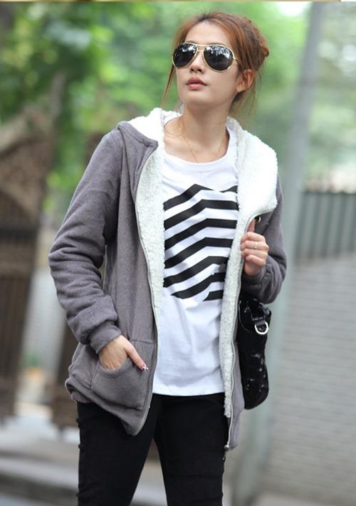 Women-039-s-Long-Sleeve-Zip-Up-Tops-Outerwear-Sweatshirt-Hoodie-Coat-Jacket-New-133