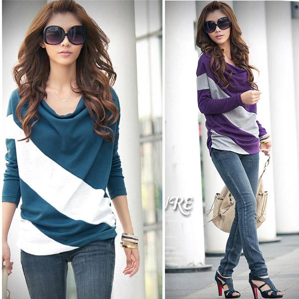 Fashion Lady Batwing Dolman Long Sleeve Cotton Casual Tops T Shirt Blouses 143 Ebay