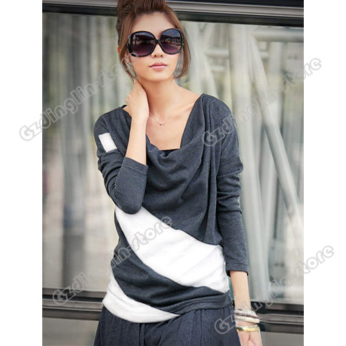 New-Womens-Batwing-Long-Sleeve-Stripe-Cotton-Casual-Loose-Tops-T-Shirt-S-M-L-XL
