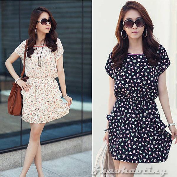 Womens Fashion Ladies Short Sleeve Floral Print Chiffon Casual ...