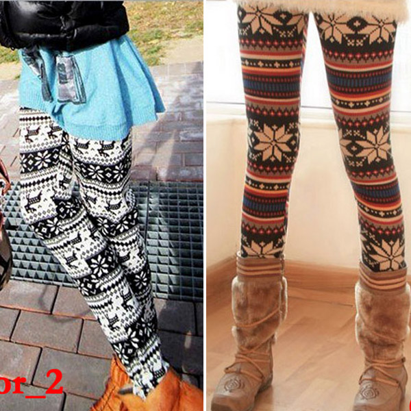 Knitted Colorful Crystal Pattern Leggings Tights Pants Casual