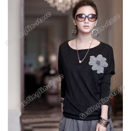 Lady-Batwing-Dolman-Long-Sleeve-Crew-Neck-Floral-Cotton-Casual-Top-T-Shirt-166