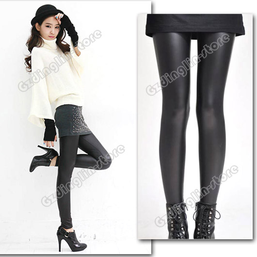 Women-Sexy-Casual-Wet-Look-Shiny-Faux-Leather-Leggings-Pants-Treggings-Trousers