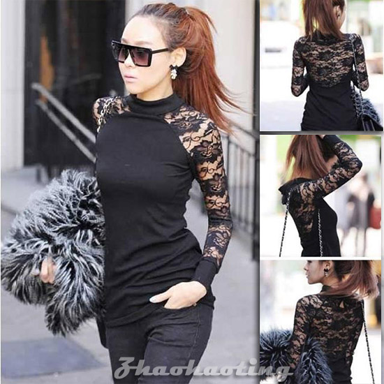 Women's Long Sleeve Polo Neck Sexy Clubwear Party Cocktail Lace Mini Dress #183