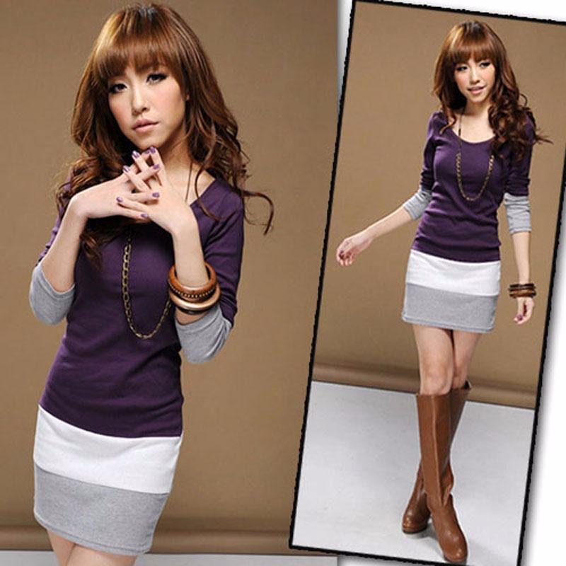 Fashion-Women-039-s-Sweet-Stitching-Long-Sleeve-T-Shirt-Tops-Blouse-Mini-Dress-200