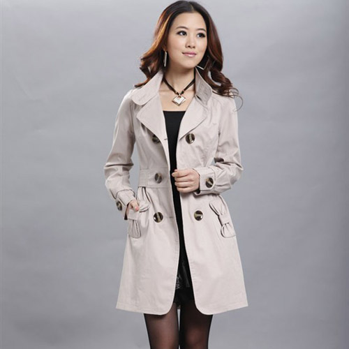 New-Womens-Long-Sleeve-Slim-Fit-Trench-Double-Breasted-Coat-Jacket-Outwear-213