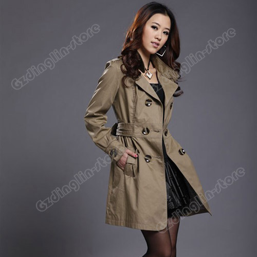 Fashion-Womens-Ladies-Pocket-Slim-Fit-Trench-Double-Breasted-Coat-Jacket-Outwear