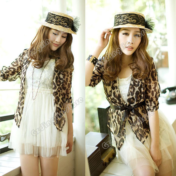 Fashion Women's Clothing Leopard Chiffon Casual Tunic Cardigan Blouse Tops #229