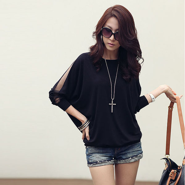 Fashion-Womens-Long-Sleeve-Loose-T-Shirt-Batwing-Tops-Blouses-S-M-L-Size-290