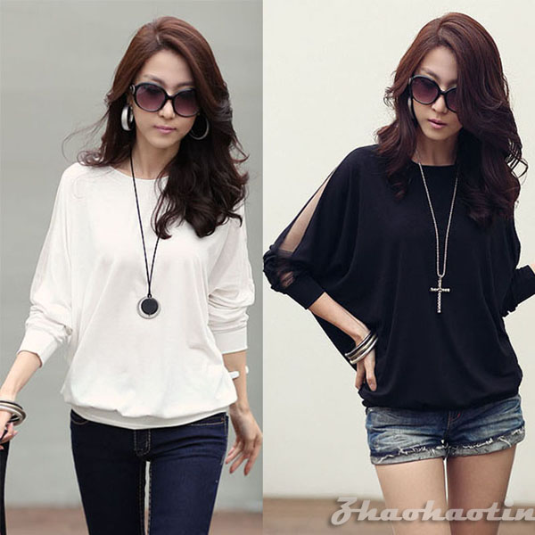 Fashion Women S Long Sleeve Loose T Shirt Batwing Tops Blouses S M L