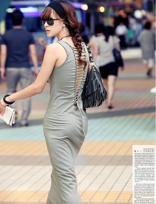 New Women's Backless Sexy Cocktail Evening Slim Long Maxi Skirt Dress Black #327
