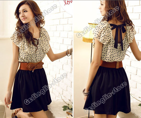 New-Women-039-s-Short-Sleeve-Chiffon-Dots-Polka-Waist-Top-Mini-Dress-S-M-L-Size-369