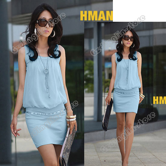 Women-039-s-Sleeveless-Crew-Neck-Casual-Chiffon-Sundress-Mini-Dress-S-M-L-Size-371