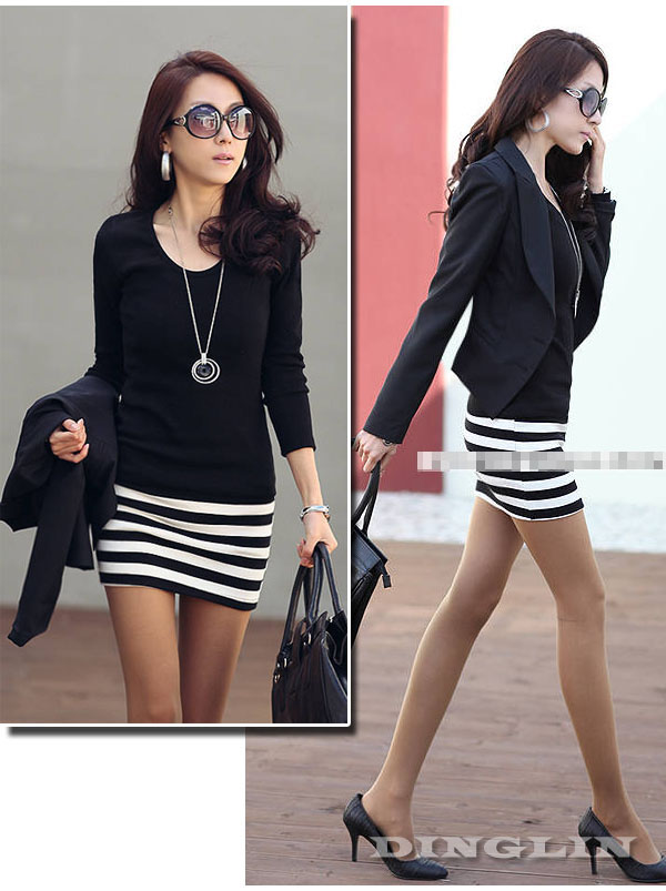 Women-039-s-Ladies-Crew-Neck-Long-Sleeve-Stripe-Casual-Cotton-Mini-Dress-Size-S-M-L