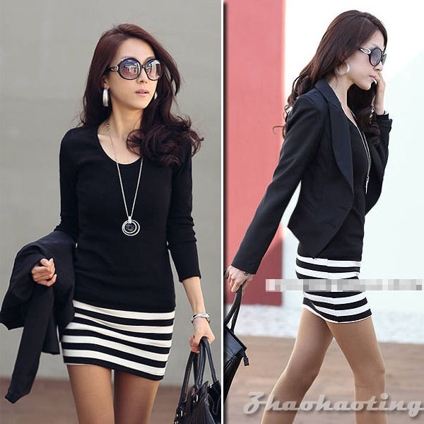 New-Womens-Long-Sleeve-Crew-Neck-Stripe-Casual-Cotton-Mini-Dress-Size-S-M-L-393