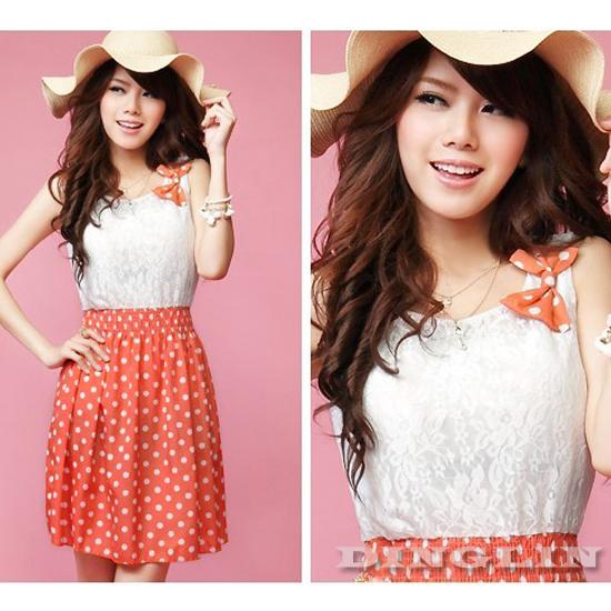 New-Fashion-Womens-Sweet-Lovely-Lace-Chiffon-Polka-Dot-Sundress-Mini-Dress-414