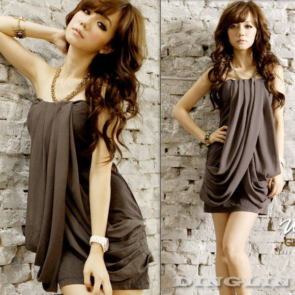 Womens Sexy Off Shoulder Wrapped Chest Chiffon Cocktail Sweet Casual Mini Dress