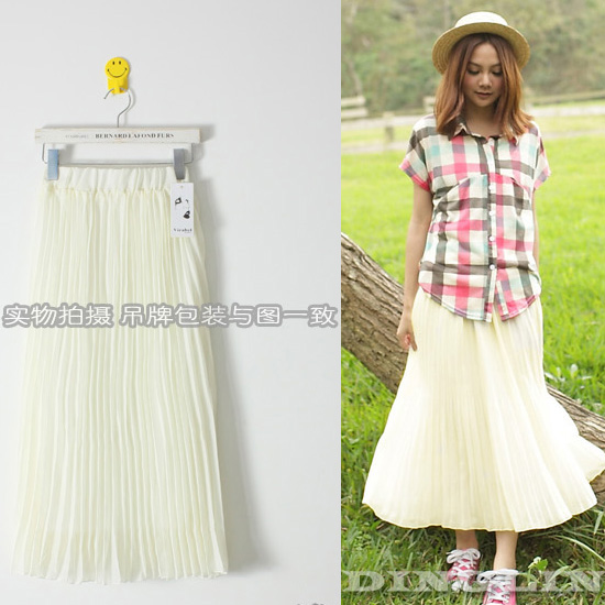 Womens-Bohemian-Pleated-Wave-Chiffon-Maxi-Long-Skirt-Beach-Dress-8-Colors-481