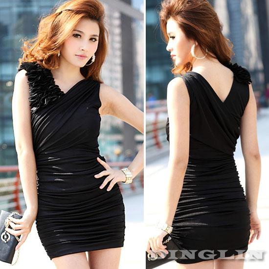 Women-039-s-Ladies-Sleeveless-Back-V-Neck-Sexy-Clubwear-Party-Mini-Dress-S-Size-560