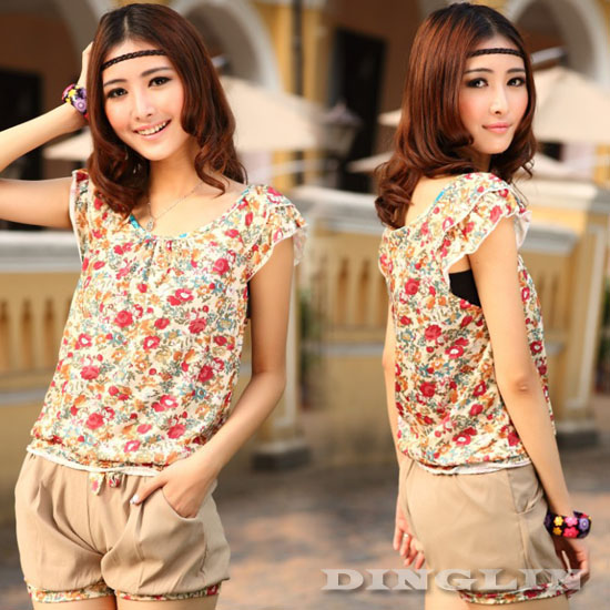 Women's Summer Two-Piece Set Floral Print Casual Short Shorts Tops Blouse #596