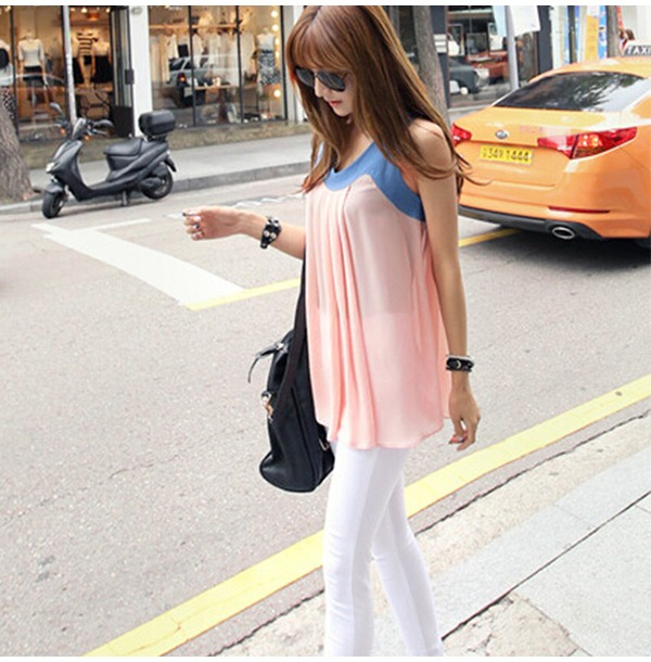 New-Women-039-s-Short-Sleeve-Rose-Print-Casual-Chiffon-Loose-Shirt-Blouse-Tops-601