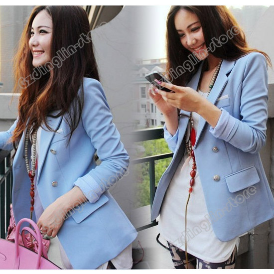 Womens-Long-Sleeve-Double-Breasted-Slim-Suit-Blazer-Small-Jacket-Coat-Blue-658