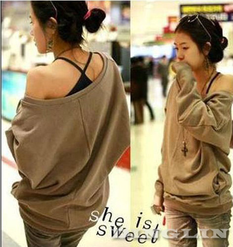 Women Long Sleeve Boat Neck Off Shoulder Cotton Sexy Loose Tops T-Shirt Size M