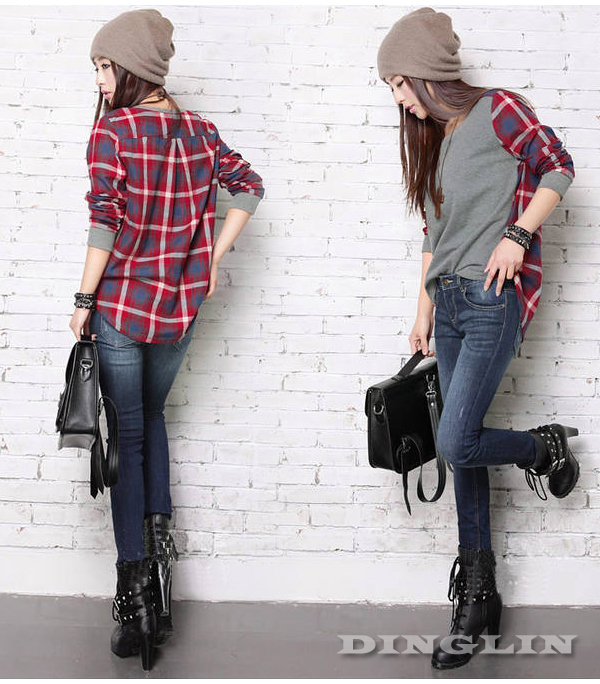 Womens-Long-Sleeve-Plaids-Checks-Print-Crew-Neck-Loose-Lady-Top-T-Shirt-S-M-New