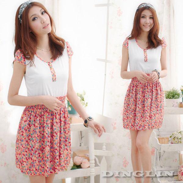 Summer Fashion Women O-Neck Polka Dot Patchwork Waisted Cute Mini Country Dress