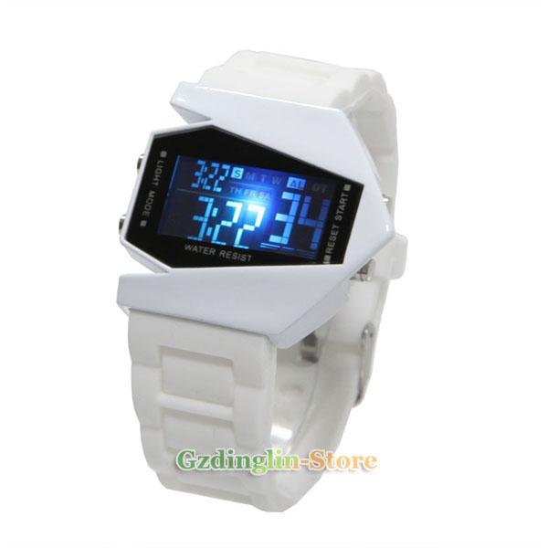Fashion Luxury Airplane Flashlight Silicone Band Digital Led Sport Wrist Watch