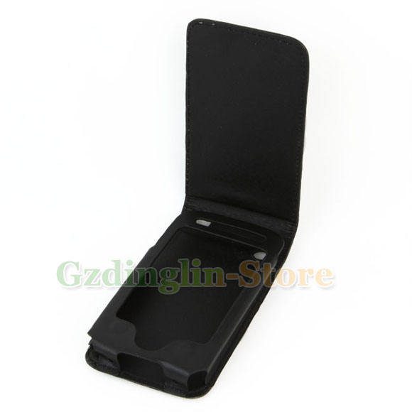 Black Leather Flip Case Cover Skin for Apple iPhone 3G 3GS C15