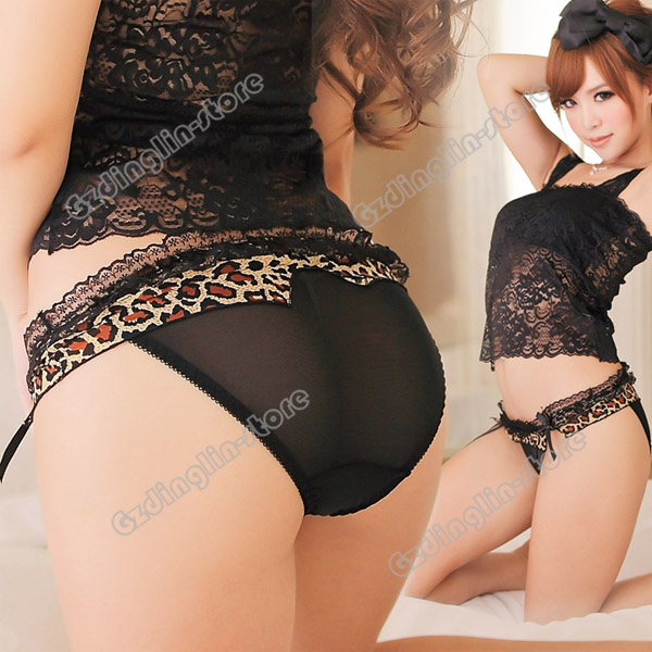 Women's Girls Lace Sexy Leopard Lingerie Panties Briefs ...