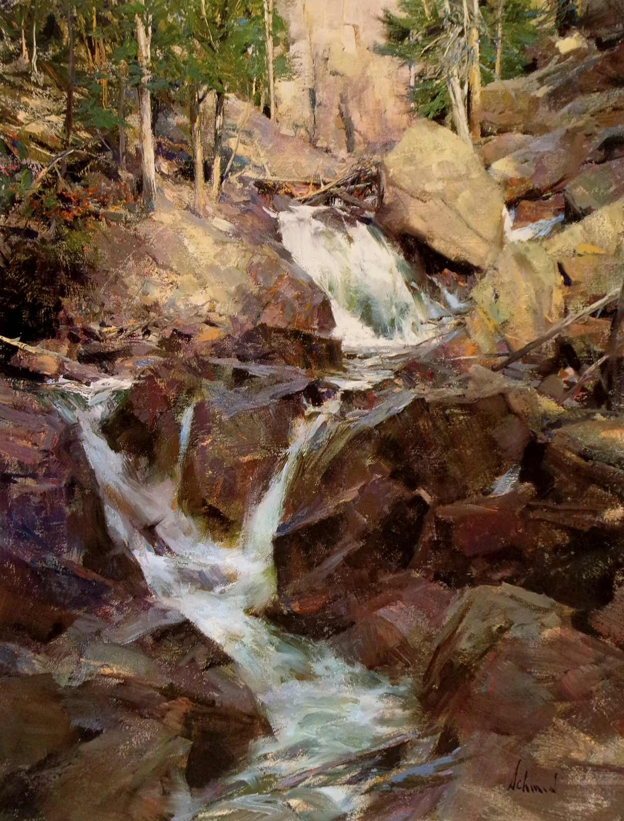 Richard Schmid Quot Mountain Stream Quot Signed Limited Ed Framed