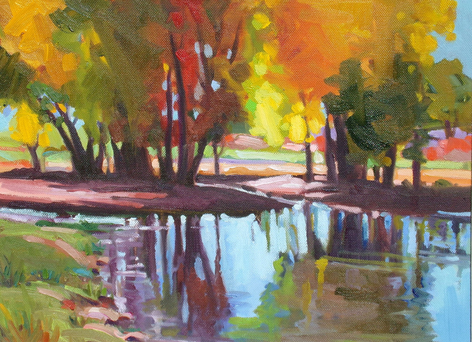 christine smith hudson garden reflections original oil