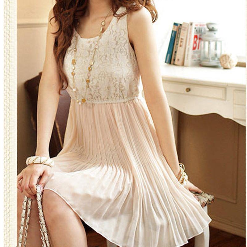 Sexy Women's Sleeveless Dress Lace & Chiffon Sundress Pleated MIni Dresses