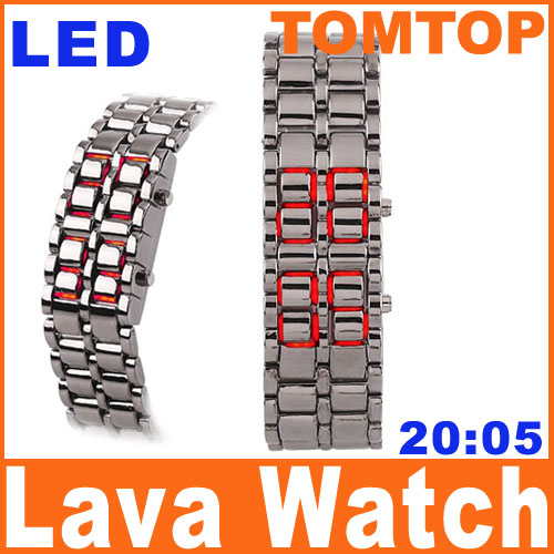 Men-Red-LED-Iron-Samurai-Metal-Digital-Lava-Style-Watch