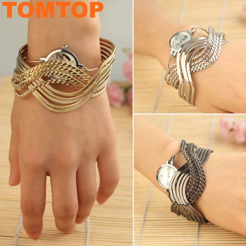 Bangle-Bracelet-Fashion-Wrist-Watch-Wristwatch-Stunning-Silver-Grey-Silver-Gold