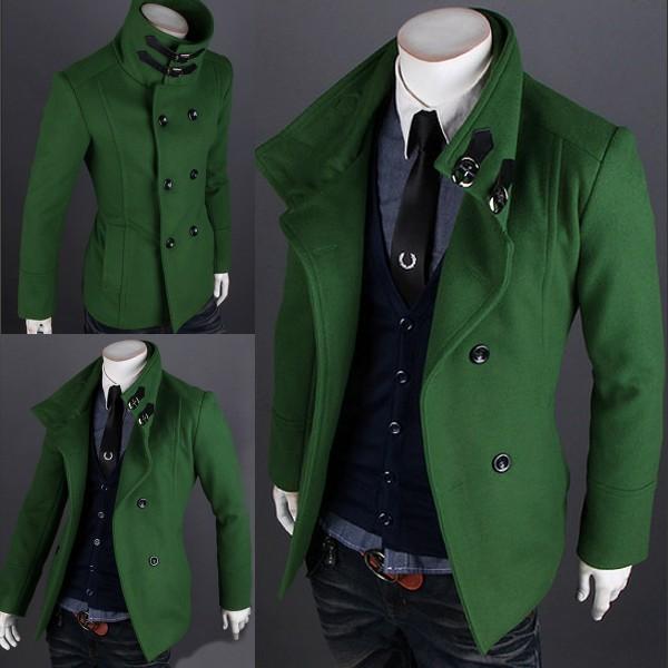 Men's Wool Winter Trench Pea Coat Peacoat Jacket Overcoat Green ...