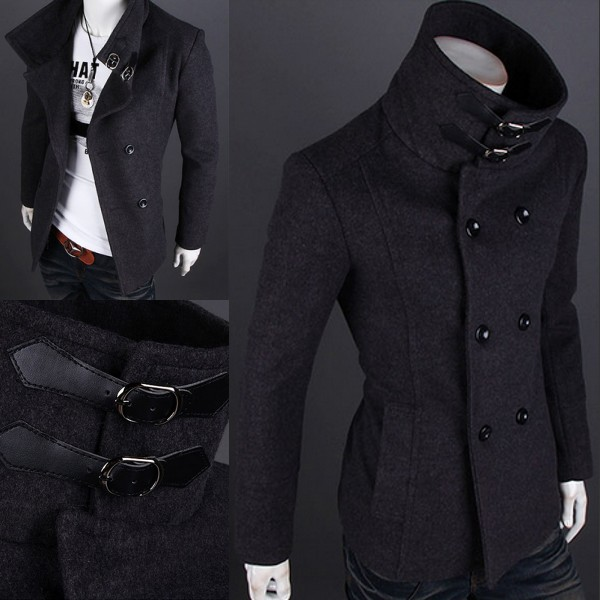 Men&039s Wool Winter Trench Pea Coat Peacoat Jacket Overcoat