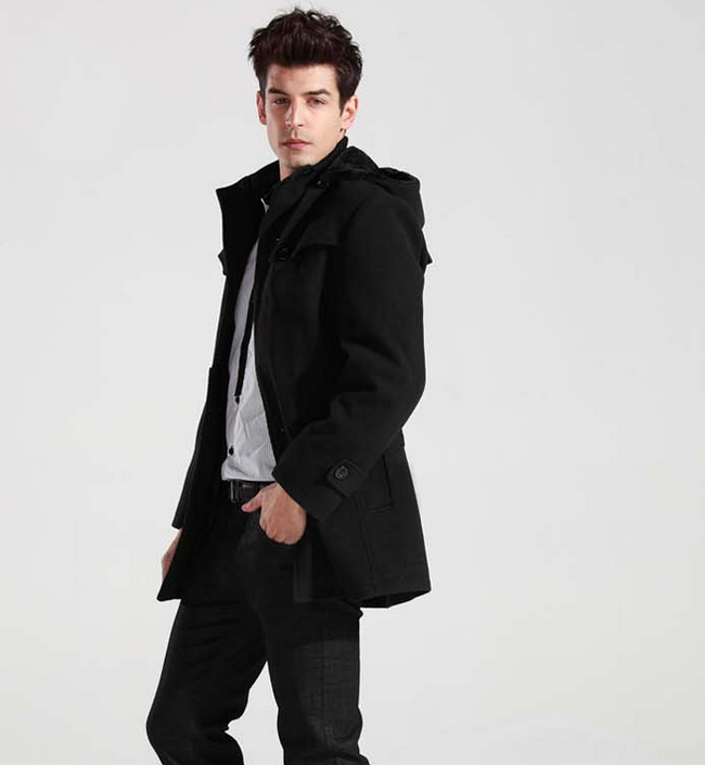 Men's Winter Warm Wool Parka Trench Hooded Coat Peacoat ...