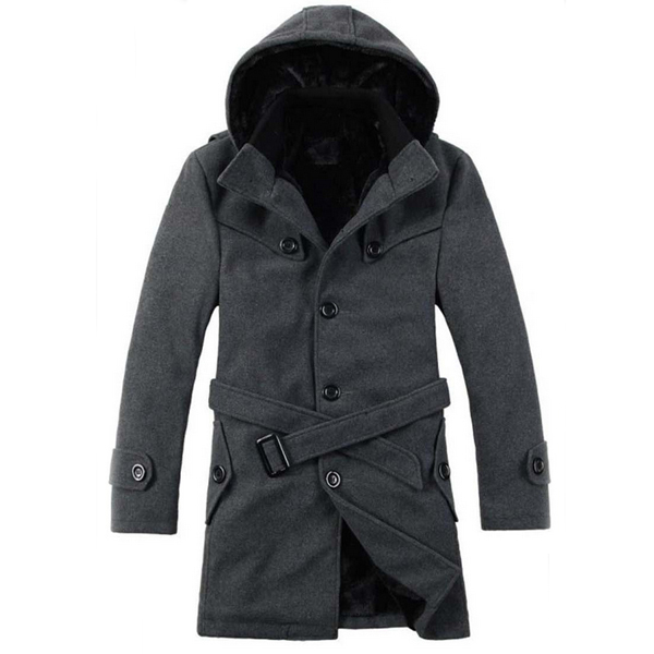 Men's Winter Warm Wool Parka Trench Hooded Coat Peacoat Jacket ...