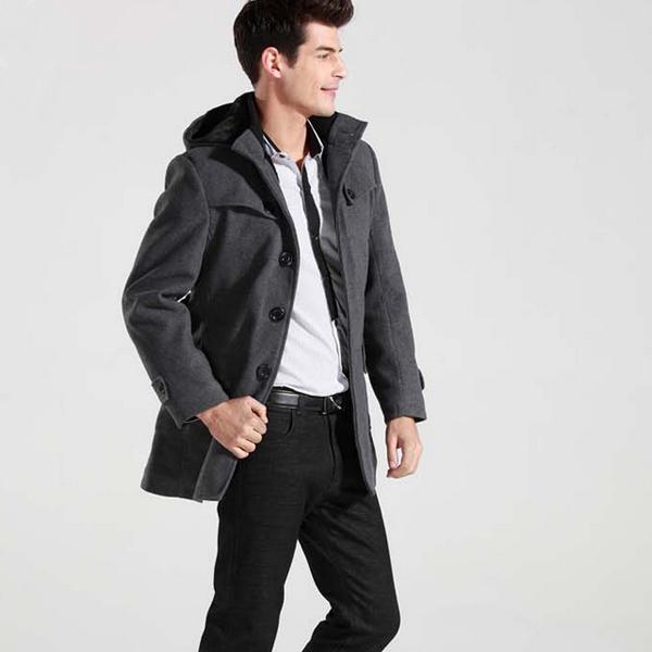 Men's Winter Warm Wool Parka Trench Hooded Coat Peacoat Jacket ...