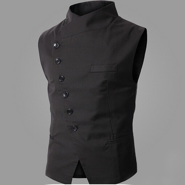 mens slim formal luxury wedding sleeveless vest waistcoat
