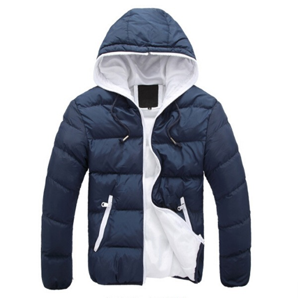 New Men Winter Solid Color Cotton Padded Bubble Parka Coat Hooded ...