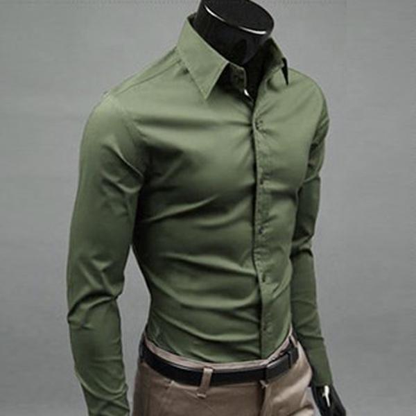 Olive green men 39 s long sleeve slim fit plain casual formal for Mens slim fit formal shirts uk