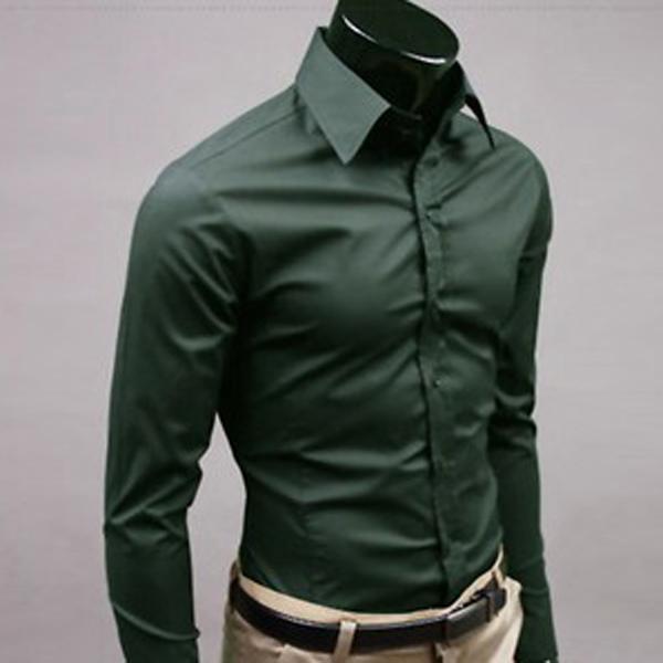 Mens Fashion Casual Solid Slim Fit Long Sleeve Dress Formal Shirt ...