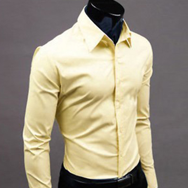 New Men's Long Sleeve Slim Fit Plain Casual Formal Dress Shirts 17 ...